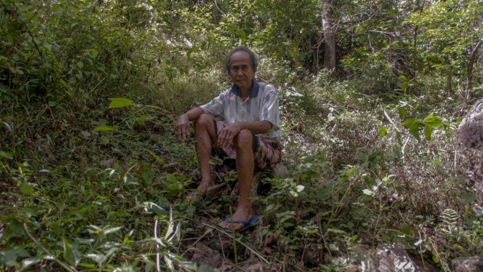 La Natu (75 tahun) duduk di sisa tebangan pohon jati di kebun miliknya.